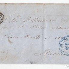 Sellos: RARA CARTA DE MATANZAS A LA HABANA. CUBA. CURIOSO FECHADOR. 1858 E INDICACIÓN MANUSCRITA URGENTE.. Lote 100419239
