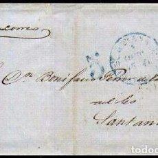 Sellos: CARTA 1854 HABANA-SANTANDER VAPOR CORREO . Lote 102783755