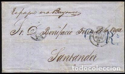 CARTA 1858 HABANA-SANTANDER VIA PARIS (Sellos - España - Colonias Españolas y Dependencias - América - Cuba)