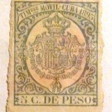 Sellos: SELLOS CUBA 1895. FISCAL TIMBRE MOVIL. 5 C. DE PESO.. Lote 105687551