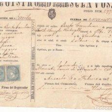 Sellos: PRECIOSA CÉDULA DE UN ESCLAVO EN PUERTO RICO. CON DOS SELLOS DE ISABEL II. 1868. MUY RARA. Lote 107323595
