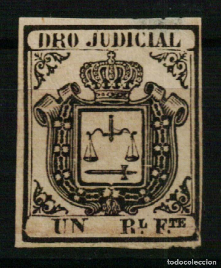 FISCAL COLONIAS ESPAÑOLAS. DERECHO JUDICIAL UN REAL FUERTE NEGRO DE 1856/64 (Sellos - España - Colonias Españolas y Dependencias - América - Antillas)