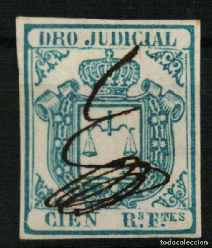 FISCAL COLONIAS ESPAÑOLAS. DERECHO JUDICIAL CIEN REALES FUERTES AZUL DE 1856/64 (Sellos - España - Colonias Españolas y Dependencias - América - Antillas)