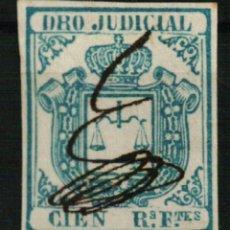 Sellos: FISCAL COLONIAS ESPAÑOLAS. DERECHO JUDICIAL CIEN REALES FUERTES AZUL DE 1856/64. Lote 108320567