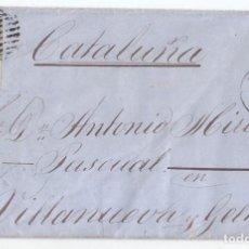 Sellos: ENVUELTA DE LA HABANA A CATALUÑA. 1862. RARA PARRILLA CUBANA. CUBA. Lote 108389711