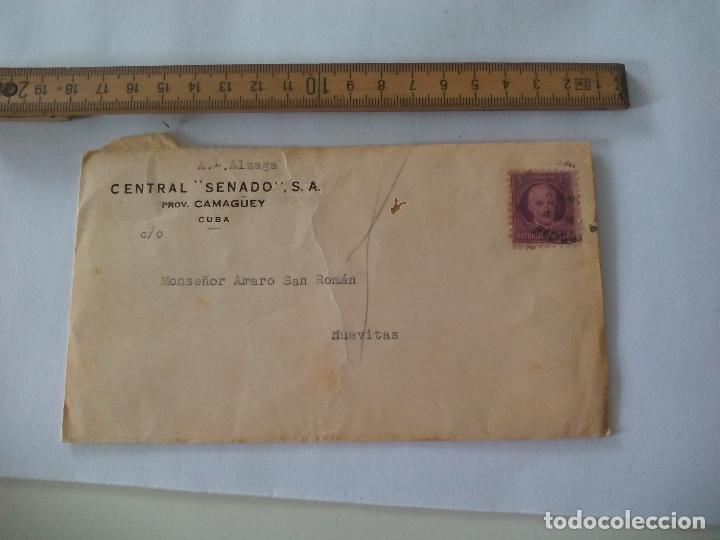 SOBRE CON MEMBRETE CUBA, CENTRAL SENADO CAMGÜEY A MONSEÑOR AMARO SAN ROMAN NUEVITAS 1942 (Sellos - España - Colonias Españolas y Dependencias - América - Cuba)
