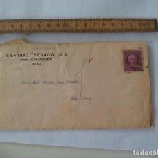 Sellos: SOBRE CON MEMBRETE CUBA, CENTRAL SENADO CAMGÜEY A MONSEÑOR AMARO SAN ROMAN NUEVITAS 1942. Lote 112965059