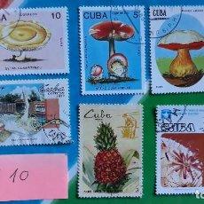 Sellos: SELLOS USADOS FAUNA FLORA SETAS CUBA. Lote 115530615