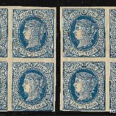 Sellos: COLONIAS ESPAÑOLAS. CUBA. 1866. ISABEL II. EDIFIL Nº 14. 2 BLOQUES DE 4. Lote 115574683