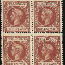 Sellos: CUBA.1898.ALFONSO XIII.80C.BLQ4.MNH.EDIFIL.171. Lote 115583247
