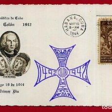 Sellos: SOBRE PRIMER DIA,TARJETA , REPUBLICA DE CUBA, 1944, COLON , 1492 1942 , ORIGINAL , D9 - 2. Lote 119105823