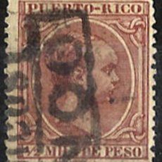 Sellos: 1894 PUERTO RICO ALFONSO XIII EDIFIL 102(º) MATASELLO FRANCO EN CAJETÍN RARO RRR. Lote 120662063