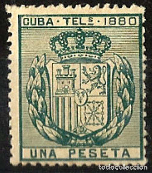 1880 CUBA TELÉGRAFOS UNA PESETA EDIFIL 49** MNH (Sellos - España - Colonias Españolas y Dependencias - América - Cuba)