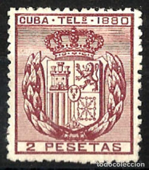 1880 CUBA TELÉGRAFOS DOS PESETAS EDIFIL 50* MH (Sellos - España - Colonias Españolas y Dependencias - América - Cuba)