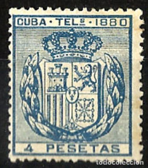 1880 CUBA TELÉGRAFOS CUATRO PESETAS EDIFIL 51* MH (Sellos - España - Colonias Españolas y Dependencias - América - Cuba)