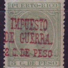 Sellos: PUERTO RICO IMPUESTO GUERRA 6 HCC *MLH. SOBRECARGA ROJA. NO CATALOGADO. CENTRAJE LUJO. Lote 121668067