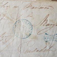 Sellos: CARTA ENVUELTA CUBA CORREO MARITIMO VAPOR MARCA FRANCO 1852. Lote 122970370