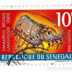 Sellos: CURIOSO SELLO. REPÚBLICA DE SENEGAL. LANGOUSTE VERTE. POSTES 1968.. Lote 127222107