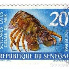Sellos: CURIOSO SELLO. REPÚBLICA DE SENEGAL. CIGALE DE MER. POSTES 1968.. Lote 127222419