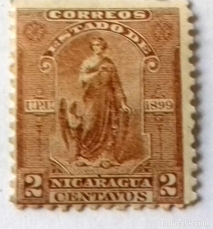 Sellos: SELLO 2 CENTAVOS NICARAGUA AÑO 1899. Y REGALO SELLO ARGENTINA 10 CENTAVOS SAN MARTIN AÑO 1920 APROX. - Foto 2 - 128040255
