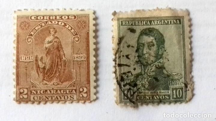 Sellos: SELLO 2 CENTAVOS NICARAGUA AÑO 1899. Y REGALO SELLO ARGENTINA 10 CENTAVOS SAN MARTIN AÑO 1920 APROX. - Foto 6 - 128040255