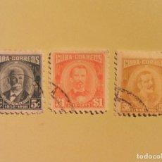 Sellos: CUBA - PERSONAJES - CALISTO GARCIA - ANTONIO MACEO - MANUEL DE CESPEDES.. Lote 128131843