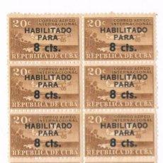 Sellos: BLOQUE DE 14 SELLOS CORREO AÉREO CUBA. HABILITADO 8 CTS. 1962. Lote 132742450
