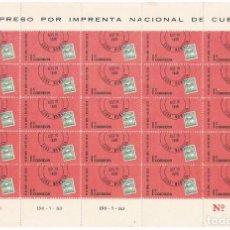 Sellos: BLOQUE CON 25 SELLOS DE 1C DE CUBA. DIA DEL SELLO. CIRCA 1970. Lote 132743758