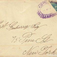 Sellos: CARTA CUBA A NUEVA YORK BISECTADO ALFONSO XII 10 C. AZUL 1888. Lote 136725086