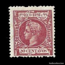 Sellos: PUERTO RICO. 1898 ALFONSO XIII.20CT.CARMÍN OSC.. NUEVO. EDIF.144. SCOTT 144. Lote 139117062