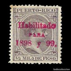 Sellos: SELLOS ESPAÑA.PUERTO RICO. 1898. ALFONSO XIII. HABILITADOS.1/2M.VIOLETA NEGRO(R). NUEVO. EDIF.Nº150. Lote 139216214