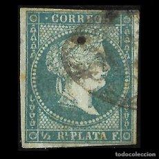 Sellos: SELLOS ESPAÑA. COLONIAS ESPAÑOLAS. ANTILLAS. 1855. ISABEL II.1/2R. VERDE AZUL. USADO. EDIF.Nº1. Lote 139596682