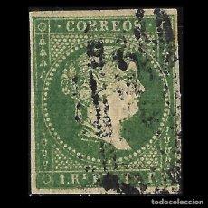 Sellos: SELLOS ESPAÑA. COLONIAS ESPAÑOLAS. ANTILLAS. 1856. ISABEL II.1R. VERDE. USADO. EDIF.Nº5. Lote 139597278