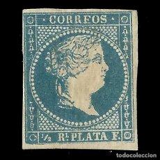 Sellos: SELLOS ESPAÑA. COLONIAS ESPAÑOLAS. ANTILLAS. 1857 ISABEL II.1/2 R. AZUL.NUEVO. EDIF.Nº7. Lote 139597302