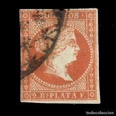 Sellos: SELLOS ESPAÑA. COLONIAS ESPAÑOLAS. ANTILLAS. 1857 ISABEL II.2 R. ROJO .USADO. EDIF.Nº9. Lote 139597530