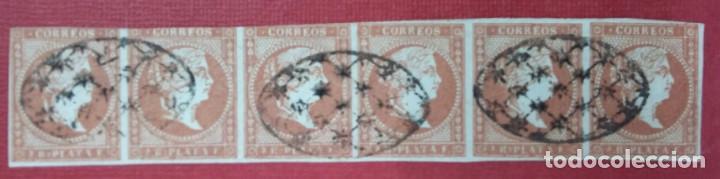 COLONIAS ESPAÑOLAS. ANTILLAS. ISABEL II, 1856. 2 REALES, ROJO ANANJADO (Nº 6 EDIFIL). TIRA DE 6 (Sellos - España - Colonias Españolas y Dependencias - América - Antillas)