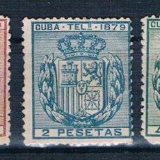 Sellos: ESPAÑA CUBA TELEGRAFOS 1879 SERIE EDIFIL 46/48 VALOR CATALOGO 30€. Lote 140323614