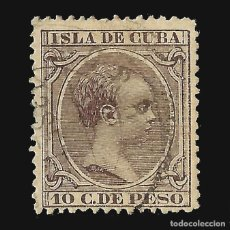 Sellos: .CUBA 1890. ALFONSO XIII.10 CT. CASTAÑO VIOLETA.USADO.EDIF.Nº116. Lote 140636270