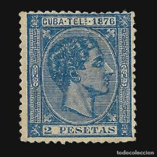 Sellos: CUBA TELÉGRAFOS 1876. ALFONSO XII. 2P.AZUL. NUEVO. EDIF.Nº36. Lote 186099055