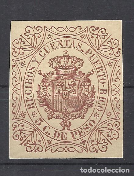 Q546P-SELLO CLASICO NUEVO** PUERTO RICO COLONIA ESPAÑOLA 1878,LUJO.RECIBOS CUENTA.SELLO FISCAL PUERT (Sellos - España - Colonias Españolas y Dependencias - América - Puerto Rico)