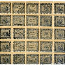 Sellos: 1898. GUERRA DE CUBA FILIPINAS Y PUERTO RICO. PLIEGO COMPLETO DE 25 VIÑETAS DE 5CTS AZUL. Lote 142642880