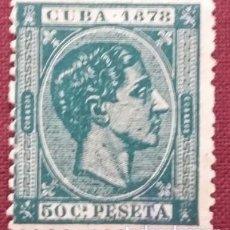 Sellos: CUBA. 1878, ALFONSO XII. 50 CTS. VERDE NEGRUZCO (Nº 48 EDIFIL).. Lote 142807674