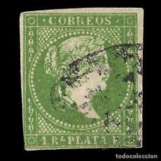 Timbres: SELLOS ESPAÑA. COLONIAS ESPAÑOLAS. ANTILLAS. 1857 ISABEL II.1 R. VERDE .USADO. EDIF.Nº8. Lote 144833954