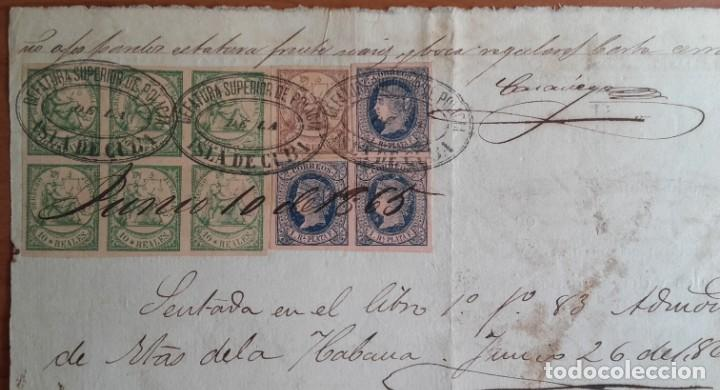SELLOS FISCALES Y POSTALES. MANUSCRITO LICENCIA COMERCIAL. FIRMAS. CUÑOS. CUBA. AÑO 1865. (Sellos - España - Colonias Españolas y Dependencias - América - Cuba)