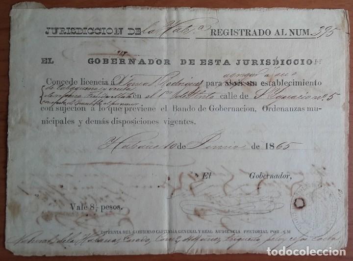 Sellos: SELLOS FISCALES Y POSTALES. MANUSCRITO LICENCIA COMERCIAL. FIRMAS. CUÑOS. CUBA. AÑO 1865. - Foto 2 - 146457346