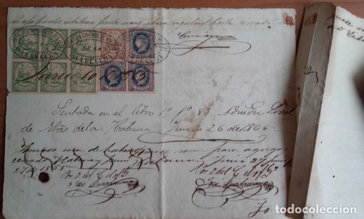Sellos: SELLOS FISCALES Y POSTALES. MANUSCRITO LICENCIA COMERCIAL. FIRMAS. CUÑOS. CUBA. AÑO 1865. - Foto 3 - 146457346