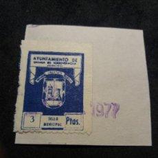 Sellos: (L-A19) SELLO MUNICIPAL 3 PTAS. AYTO GRANJA DE TORREHERMOSA (BADAJOZ) 1977. Lote 147620346