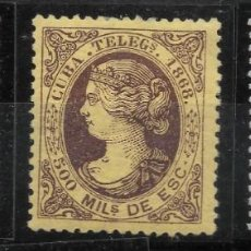 Sellos: AÑO 1868 .CUBA TELEGRAFOS 1/3 ISABEL II MH VC 30 EUROS. Lote 147712194