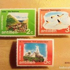Sellos: ANTILLAS HOLANDESAS - FLAMENCOS, CASTILLO Y VALLE - NUEVOS CON GOMA. Lote 150485606