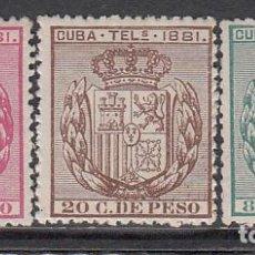 Sellos: CUBA TELEGRAFOS 1881 EDIFIL 52/4 * MH. Lote 151111852